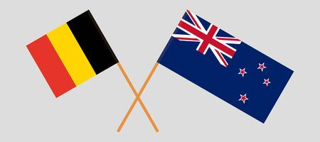 New Zealand and Belgium. Crossed New Zealands and  Belgian flags. Official colors. Correct proportion. Vector illustration