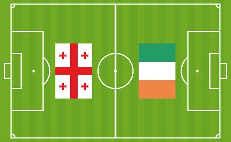 An illustration for football tournament between Georgia and Ireland. The national flags over football pitch