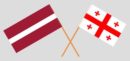 Georgia and Latvia. Crossed Georgian and Latvian flags. Official colors. Correct proportion. Vector illustration Illustration