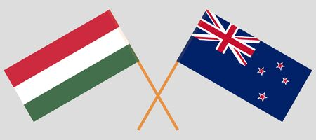 New Zealand and Hungary. Crossed New Zealand's and Hungarian flags. Official colors. Correct proportion. Vector illustration