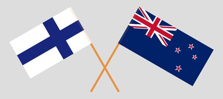 New Zealand and Finland. Crossed New Zealands and Finnish flags. Official colors. Correct proportion. Vector illustration  イラスト・ベクター素材