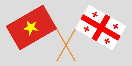 Georgia and Vietnam. Crossed Georgian and Vietnamese flags. Official colors. Correct proportion. Vector illustration  イラスト・ベクター素材