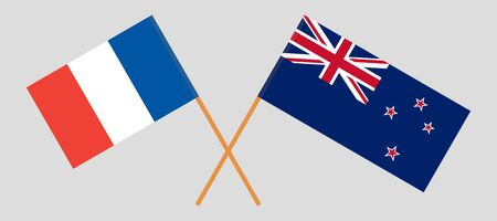 New Zealand and France. Crossed New Zealands and  French flags. Official colors. Correct proportion. Vector illustration  イラスト・ベクター素材