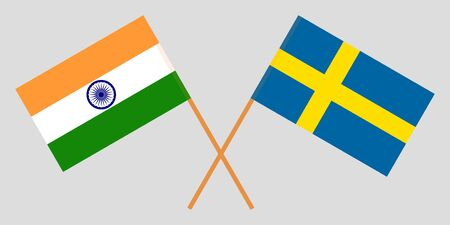 Sweden and India. Crossed Swedish and Indian flags. Official colors. Correct proportion. Vector illustration