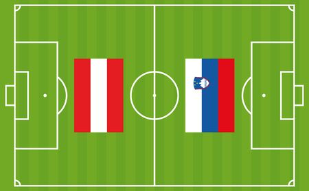 An illustration for football tournament between Austria and Slovenia. The national flags over football pitch