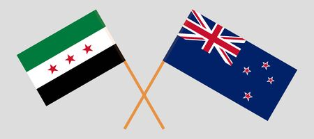 New Zealand and Interim Government of Syria. Crossed New Zealands and Coalition flags. Official colors. Correct proportion. Vector illustration