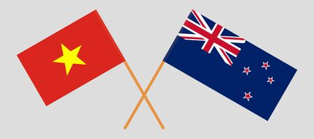 New Zealand and Vietnam. Crossed New Zealand's and Vietnamese flags. Official colors. Correct proportion. Vector illustration