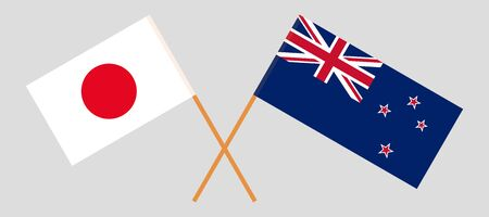 New Zealand and Japan. Crossed New Zealands and Japanese flags. Official colors. Correct proportion. Vector illustration