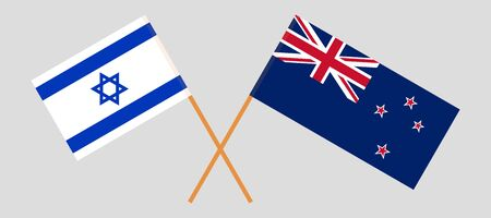 New Zealand and Israel. Crossed New Zealands and Israeli flags. Official colors. Correct proportion. Vector illustration Illustration
