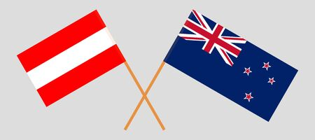 New Zealand and Austria. Crossed New Zealands and Austrian flags. Official colors. Correct proportion. Vector illustration  イラスト・ベクター素材