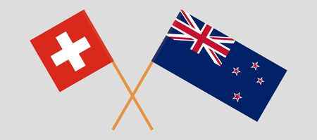 New Zealand and Switzerland. Crossed New Zealands and Swiss flags. Official colors. Correct proportion. Vector illustration