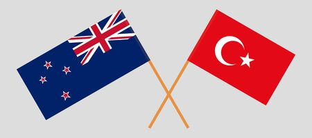 New Zealand and Turkey. Crossed New Zealand's and Turkish flags. Official colors. Correct proportion. Vector illustration