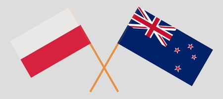New Zealand and Poland. Crossed New Zealands and Polish flags. Official colors. Correct proportion. Vector illustration
