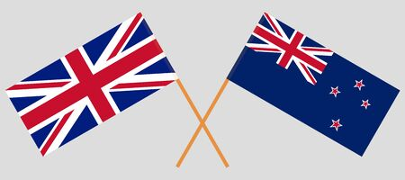 New Zealand and the UK. Crossed New Zealands and British flags. Official colors. Correct proportion. Vector illustration