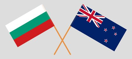 New Zealand and Bulgaria. Crossed New Zealands and Bulgarian flags. Official colors. Correct proportion. Vector illustration  イラスト・ベクター素材
