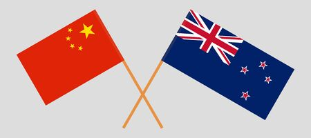 Crossed New Zealand and Chinese flags. Official colors. Correct proportion. Vector illustration