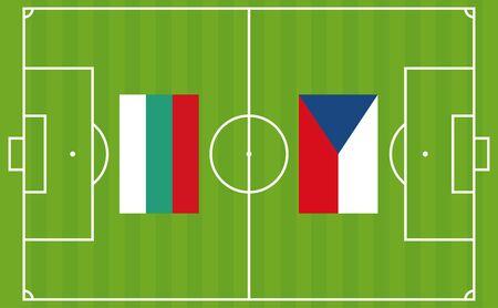 Qualifying championship tournament. Football match between Bulgaria and Czech Republic. Vector illustration Ilustração