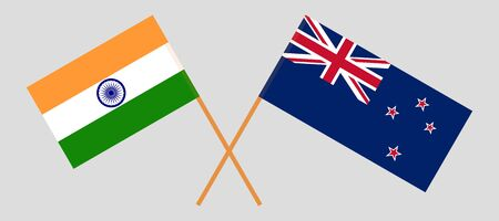 New Zealand and India. Crossed New Zealands and Indian flags. Official colors. Correct proportion. Vector illustration