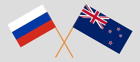 New Zealand and Russia. Crossed New Zealands and Russian flags. Official colors. Correct proportion. Vector illustration  イラスト・ベクター素材