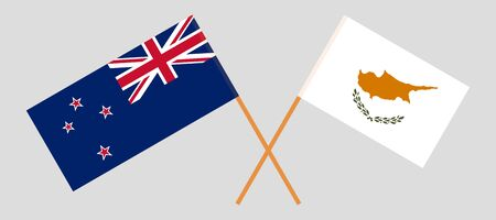 New Zealand and Cyprus. Crossed New Zealands and Cyprian flags. Official colors. Correct proportion. Vector illustration