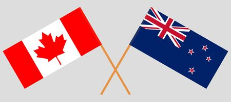 New Zealand and Canada. Crossed New Zealands and Canadian flags. Official colors. Correct proportion. Vector illustration