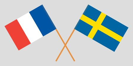 Sweden and France. Crossed Swedish and French flags. Official colors. Correct proportion. Vector illustration