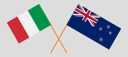 New Zealand and Italy. Crossed New Zealands and Italian flags. Official colors. Correct proportion. Vector illustration
