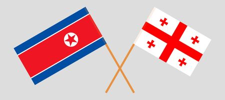 Georgia and North Korea. Crossed Georgian and Korean flags. Official colors. Correct proportion. Vector illustration