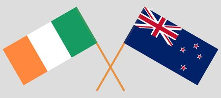 New Zealand and Ireland. Crossed New Zealands and Irish flags. Official colors. Correct proportion. Vector illustration