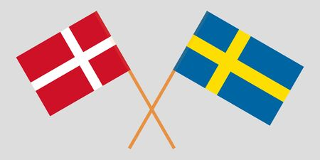 Sweden and Denmark. Crossed Swedish and Danish flags. Official colors. Correct proportion. Vector illustration