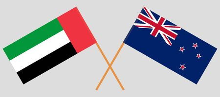 New Zealand and United Arab Emirates. Crossed New Zealands and UAE flags. Official colors. Correct proportion. Vector illustration