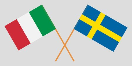 Sweden and Italy. Crossed Swedish and Italian flags. Official colors. Correct proportion. Vector illustration