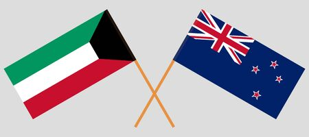 New Zealand and Kuwait. Crossed New Zealands and Kuwaiti flags. Official colors. Correct proportion. Vector illustration