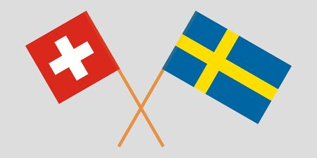 Sweden and Switzerland. Crossed Swedish and Swiss flags. Official colors. Correct proportion. Vector illustration