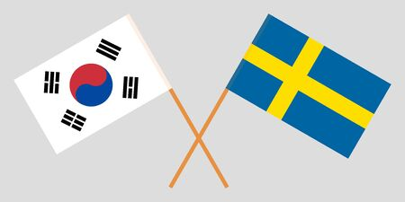 Sweden and South Korea. Crossed Swedish and Korean flags. Official colors. Correct proportion. Vector illustration 스톡 콘텐츠 - 128925208