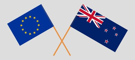 New Zealand and EU. Crossed New Zealands and European flags. Official colors. Correct proportion. Vector illustration Иллюстрация