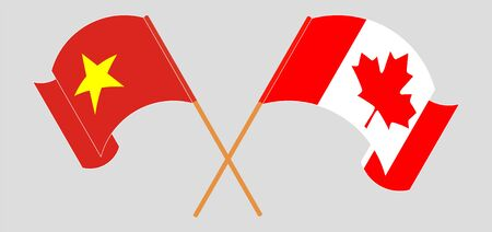 Crossed and waving flags of Canada and Vietnam. Vector illustration