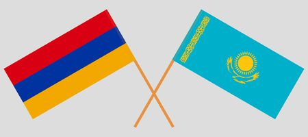 Crossed flags of Kazakhstan and Armenia. Official colors. Correct proportion. Vector illustration Çizim