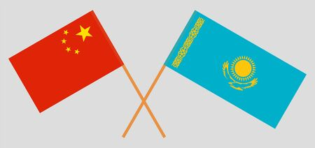 Crossed flags of Kazakhstan and China. Official colors. Correct proportion. Vector illustration