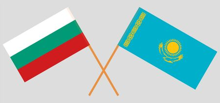 Crossed flags of Kazakhstan and Bulgaria. Official colors. Correct proportion. Vector illustration