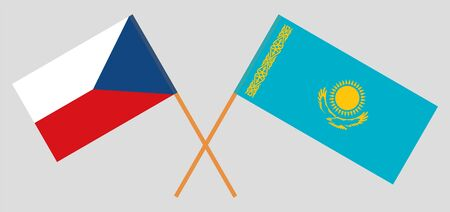Crossed flags of Kazakhstan and Czech Republic. Official colors. Correct proportion. Vector illustration
