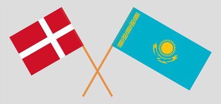 Crossed flags of Kazakhstan and Denmark. Official colors. Correct proportion. Vector illustration