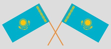 Crossed flags of Kazakhstan. Official colors. Correct proportion. Vector illustration