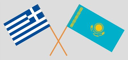 Crossed flags of Kazakhstan and Greece. Official colors. Correct proportion. Vector illustration