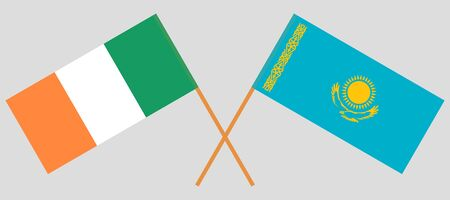 Crossed flags of Kazakhstan and Ireland. Official colors. Correct proportion. Vector illustration 일러스트