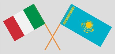 Crossed flags of Kazakhstan and Italy. Official colors. Correct proportion. Vector illustration