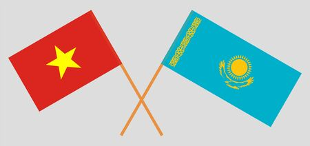 Crossed flags of Kazakhstan and Vietnam. Official colors. Correct proportion. Vector illustration  イラスト・ベクター素材