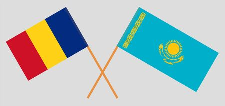 Crossed flags of Kazakhstan and Romania. Official colors. Correct proportion. Vector illustration