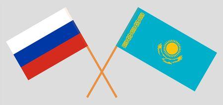 Crossed flags of Kazakhstan and Russia. Official colors. Correct proportion. Vector illustration Vektoros illusztráció