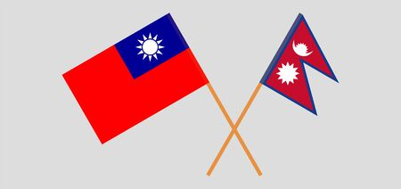 Crossed flags of Nepal and Taiwan. Official colors. Correct proportion. Vector illustration 向量圖像
